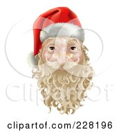 3d Santa Face Witha Blond Beard And Mustache