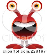 Royalty Free RF Clipart Illustration Of An Alien With A Red Head And Orange Eyes by Tonis Pan
