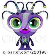 Cute Purple Alien With Green Eyes