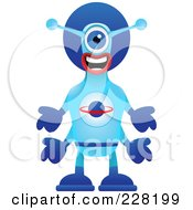 Royalty Free RF Clipart Illustration Of An Alien In A Blue Suit by Tonis Pan