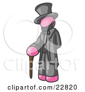 Clipart Illustration Of A Pink Man Depicting Abraham Lincoln With A Cane by Leo Blanchette