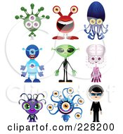 Royalty Free RF Clipart Illustration Of A Digital Collage Of Monsters And Aliens by Tonis Pan