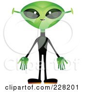 Royalty Free RF Clipart Illustration Of An Alien With A Green Head And Hands