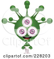 Royalty Free RF Clipart Illustration Of An Alien With A Green Head And Three Purple Eyes by Tonis Pan