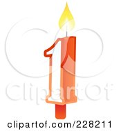Royalty Free RF Clipart Illustration Of A Number 1 Birthday Cake Candle by Tonis Pan