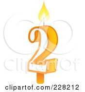 Royalty Free RF Clipart Illustration Of A Number 2 Birthday Cake Candle by Tonis Pan