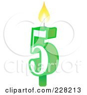 Royalty Free RF Clipart Illustration Of A Number 5 Birthday Cake Candle by Tonis Pan