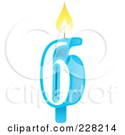 Royalty Free RF Clipart Illustration Of A Number 6 Birthday Cake Candle by Tonis Pan