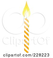 Orange And White Spiral Birthday Cake Candle