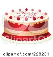 Royalty Free RF Clipart Illustration Of A Red And White Cake With Happy Birthday Text