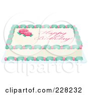 Royalty Free RF Clipart Illustration Of A Rose Sheet Cake With Happy Birthday Text