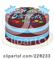 Royalty Free RF Clipart Illustration Of A Blue And Chocolate Cake With Happy Birthday Text And Stars