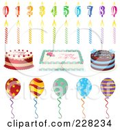 Royalty Free RF Clipart Illustration Of A Digital Collage Of Birthday Candles Cakes And Party Balloons by Tonis Pan