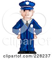 Royalty Free RF Clipart Illustration Of A Pixelated Officer by Tonis Pan