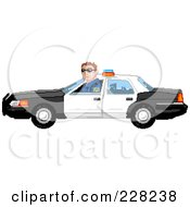 Royalty Free RF Clipart Illustration Of A Pixelated Officer Driving A Car