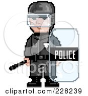 Royalty Free RF Clipart Illustration Of A Pixelated Officer With A Shield by Tonis Pan