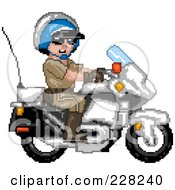 Royalty Free RF Clipart Illustration Of A Pixelated Motorcycle Cop by Tonis Pan
