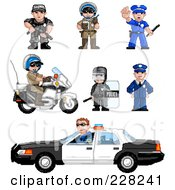 Royalty Free RF Clipart Illustration Of A Digital Collage Of Pixelated Officers by Tonis Pan