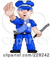 Royalty Free RF Clipart Illustration Of A Pixelated Officer Gesturing To Stop by Tonis Pan