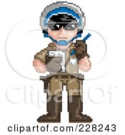 Royalty Free RF Clipart Illustration Of A Pixelated Police Officer Issuing A Ticket by Tonis Pan
