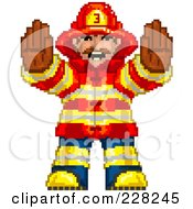 Royalty Free RF Clipart Illustration Of A Pixelated Fireman Gesturing To Stop