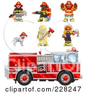 Royalty Free RF Clipart Illustration Of A Digital Collage Of Pixelated Fire Fighters A Dalmatian And Fire Truck by Tonis Pan