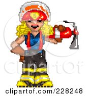 Pixelated Fire Woman Carrying An Extinguisher On Her Shoulder