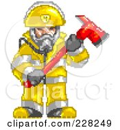 Royalty Free RF Clipart Illustration Of A Pixelated Fireman Holding An Axe