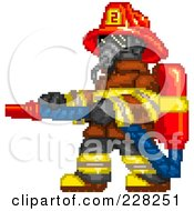 Royalty Free RF Clipart Illustration Of A Pixelated Fireman Wearing A Mask