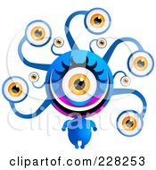 Royalty Free RF Clipart Illustration Of A Blue Alien With A Lot Of Eyes by Tonis Pan