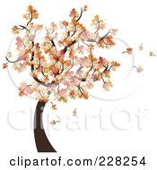 Royalty Free RF Clipart Illustration Of An Autumn Tree With Leaves Falling