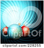 Royalty Free RF Clipart Illustration Of A Blue Swirl Background With Blue And Red Christmas Ornaments by MilsiArt