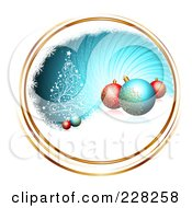 Royalty Free RF Clipart Illustration Of A Blue Swirl With Gold Trim A Tree Snow And Ornaments by MilsiArt