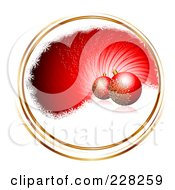 Royalty Free RF Clipart Illustration Of A Red Swirl With Gold Trim Snow And Ornaments by MilsiArt