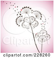 Royalty-Free (RF) Clipart Illustration of Heart Seeds Blowing Off Of Dandelion Seedheads by MilsiArt