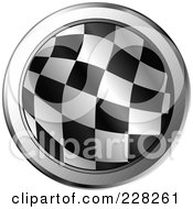Royalty Free RF Clipart Illustration Of A Round Icon Of A Racing Flag With Chrome Trim by MilsiArt