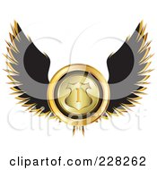 Royalty Free RF Clipart Illustration Of A Black Winged Golden Racing Medal