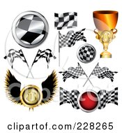 Royalty Free RF Clipart Illustration Of A Digital Collage Of Auto Racing Icons by MilsiArt