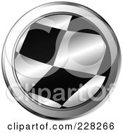 Royalty Free RF Clipart Illustration Of A Round Chrome Trimmed Icon Of A Racing Flag by MilsiArt