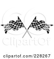 Royalty Free RF Clipart Illustration Of Two Crossed Auto Racing Flags