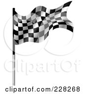 Royalty Free RF Clipart Illustration Of A Racing Flag On A Metal Pole