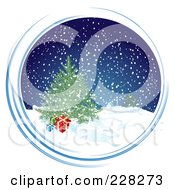 Blue Snowy Circle With A Christmas Tree And Presents