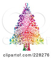 Royalty Free RF Clipart Illustration Of A Colorful Christmas Tree Made Of Leaves And Branches by MilsiArt
