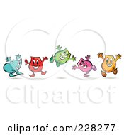 Royalty Free RF Clipart Illustration Of A Group Of Colorful Happy Blinky Characters Jumping by MilsiArt