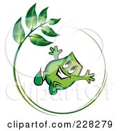 Royalty Free RF Clipart Illustration Of A Green Blinky Jumping In A Green Leaf Circle by MilsiArt