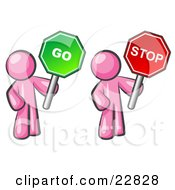 Clipart Illustration Of Pink Men Holding Red And Green Stop And Go Signs