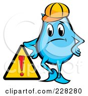 Royalty Free RF Clipart Illustration Of A Blue Construction Blinky Leaning On A Sign