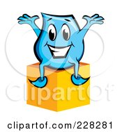 Royalty Free RF Clipart Illustration Of A Blue Blinky Sitting On A Box by MilsiArt