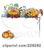Royalty Free RF Clipart Illustration Of An Orange Blinky With Halloween Candy Over A Corner Border With Pumpkins by MilsiArt