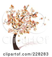 Royalty Free RF Clipart Illustration Of A Tree With Fall Foliage And Leaves Blowing Off In The Breeze